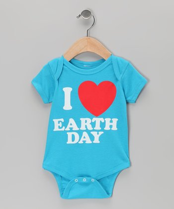 Turquoise I Love Earth Day Bodysuit - Infant