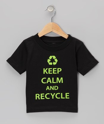 Black 'Keep Calm And Recycle' Tee - Toddler & Kids