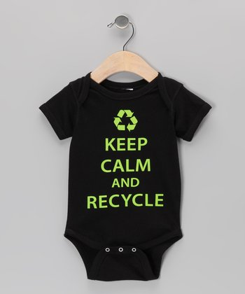 Black 'Keep Calm And Recycle' Bodysuit - Infant