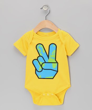Yellow Peace on Earth Bodysuit - Infant