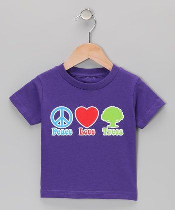Purple 'Peace Love Trees' Tee - Infant, Toddler & Kids
