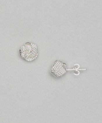 Silver June Knot Stud Earrings
