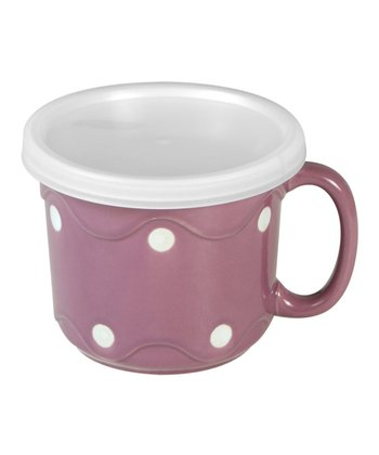 Purple Dot Covered Soup Crock - Set of Four