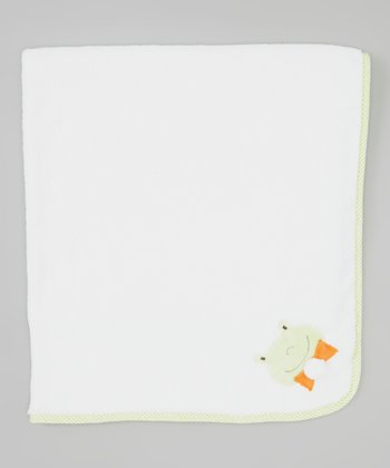 White & Orange Frog Stroller Blanket