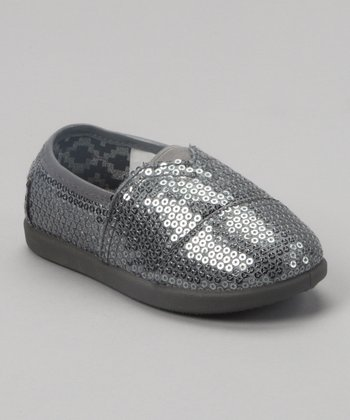 Silver Sequin Slip-On Shoe