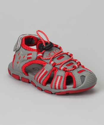 Gray & Red Sporty Sandal