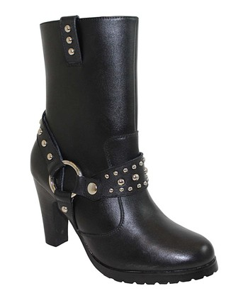 Black Studded Harness Boot