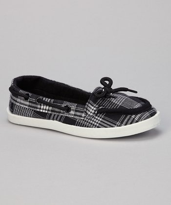 Black Plaid Perla Boat Shoe