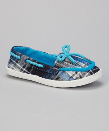 Blue Plaid Perla Boat Shoe