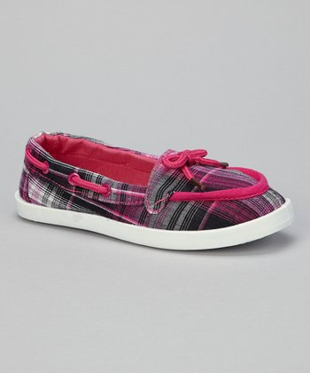 Pink Plaid Perla-01K Boat Shoe