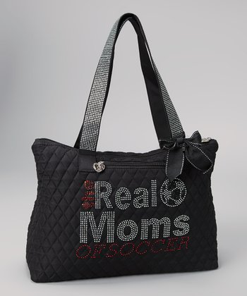 Black 'The Real Moms of Soccer' Rhinestone Tote