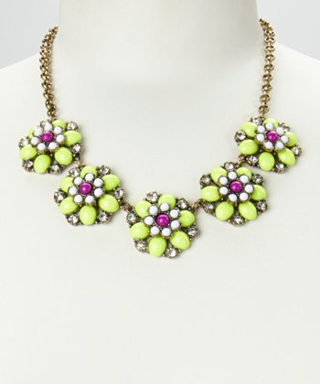 Lime & Gold Floral Colors Necklace