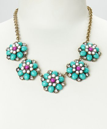 Aqua & Gold Floral Colors Necklace