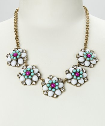 White & Gold Floral Colors Necklace