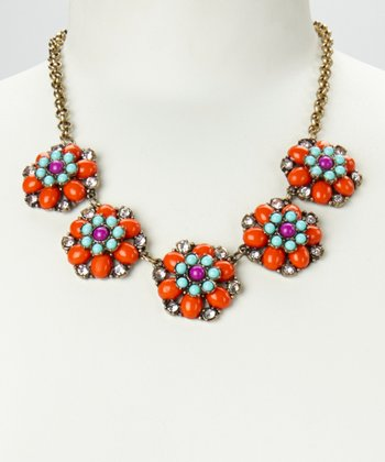 Orange & Gold Floral Colors Necklace