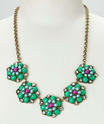 Green & Gold Floral Colors Necklace