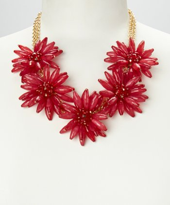 Maroon & Gold Daisy Floral Necklace