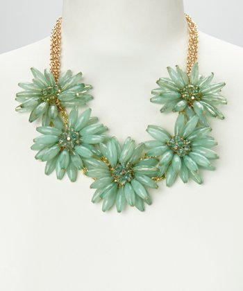 Aqua & Gold Daisy Floral Necklace