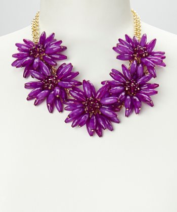 Purple & Gold Daisy Floral Necklace