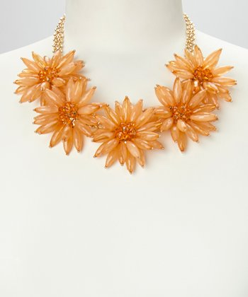 Peach & Gold Daisy Floral Necklace