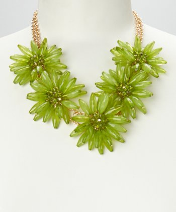 Green & Gold Daisy Floral Necklace