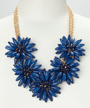 Navy & Gold Daisy Floral Necklace