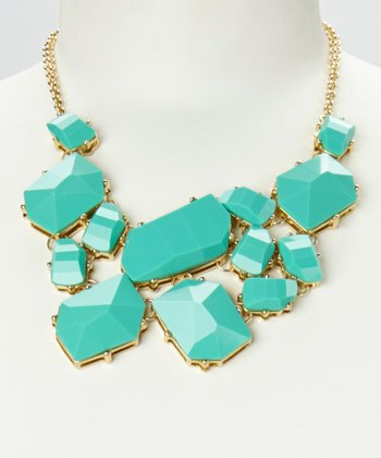 Green & Gold Geo Stone Bib Necklace