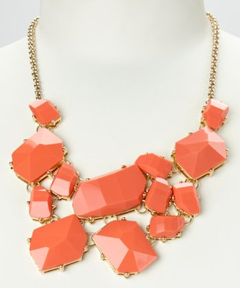 Coral & Gold Geo Stone Bib Necklace