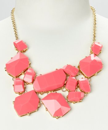 Hot Pink & Gold Geo Stone Bib Necklace