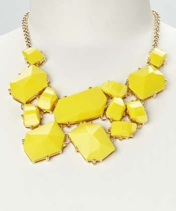Yellow & Gold Geo Stone Bib Necklace