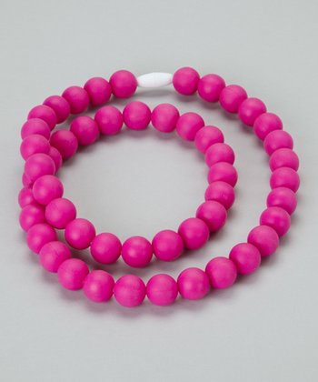 Hot Pink Round Teething Necklace