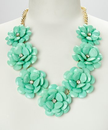 Aqua & Gold Rose Floral Necklace