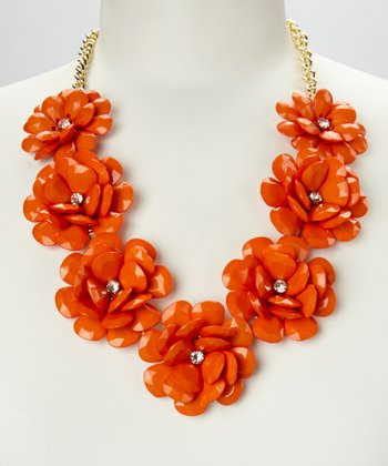 Orange & Gold Rose Floral Necklace