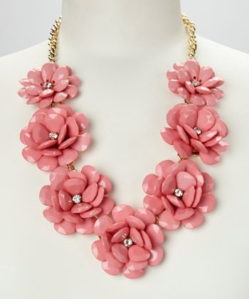 Pink & Gold Rose Floral Necklace