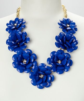 Royal Blue & Gold Rose Floral Necklace