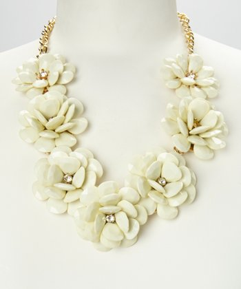 Ivory & Gold Rose Floral Necklace