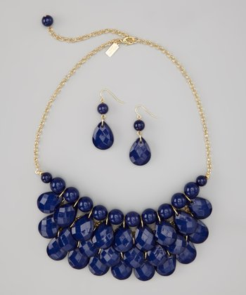 Navy Blue Water Drop Necklace & Earrings