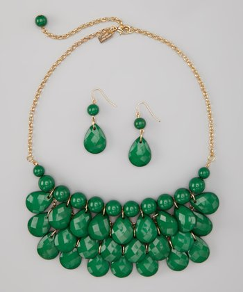 Dark Green Water Drop Necklace & Earrings