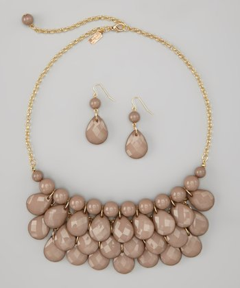 Taupe Water Drop Necklace & Earrings