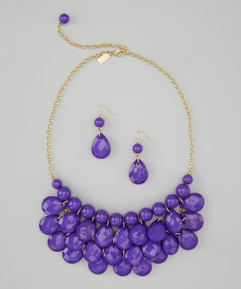 Purple Water Drop Necklace & Earrings