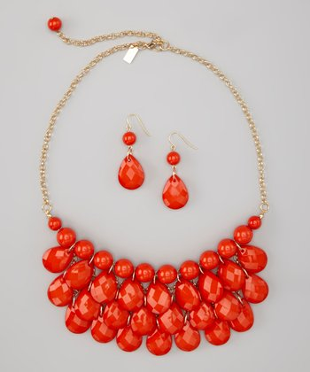 Orange-Red Water Drop Necklace & Earrings