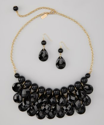 Black Water Drop Necklace & Earrings