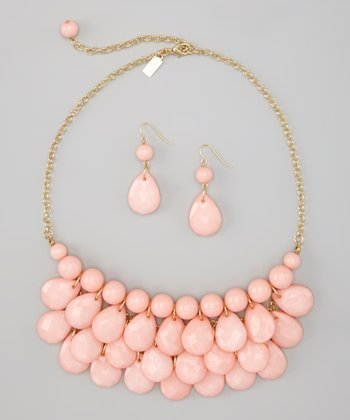 Light Pink Water Drop Necklace & Earrings