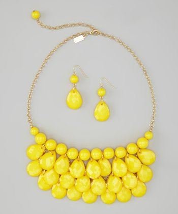 Yellow Water Drop Necklace & Earrings