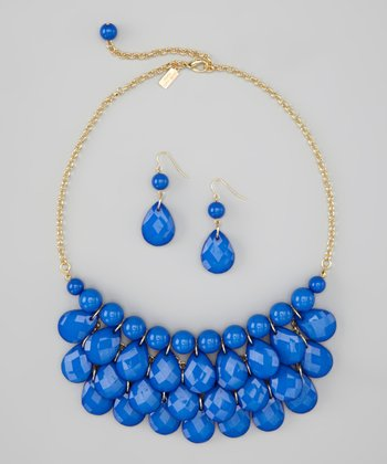 Royal Blue Water Drop Necklace & Earrings