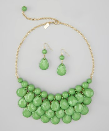 Kelly Green Water Drop Necklace & Earrings