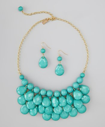 Aqua Water Drop Necklace & Earrings