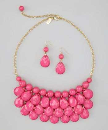 Hot Pink Water Drop Necklace & Earrings