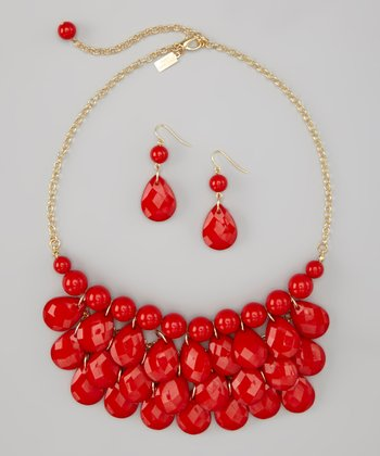 Red Water Drop Necklace & Earrings