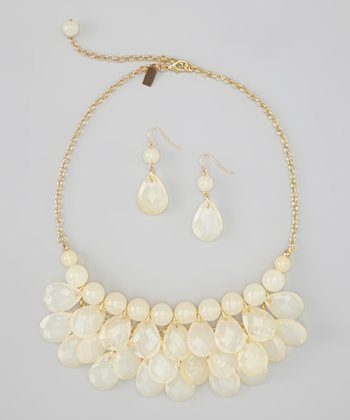 Translucent Cream Water Drop Necklace & Earrings